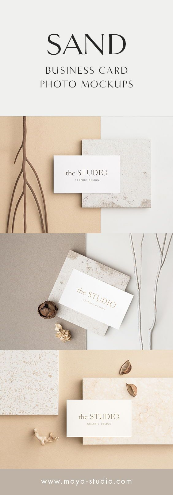 Sand Business Card Photo Mockup Bundle