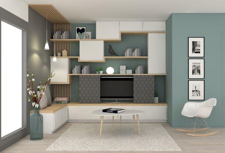 mur de meubles pour le salon. Blanc et bois, avec retour ban sur le mur du fond coté fenetre