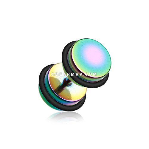 A Pair of Colorline Fake Gauge Plug Earring (Rainbow)
