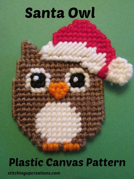 Christmas Santa Owl Plastic Canvas Pattern #owlcrafts #christmascrafts