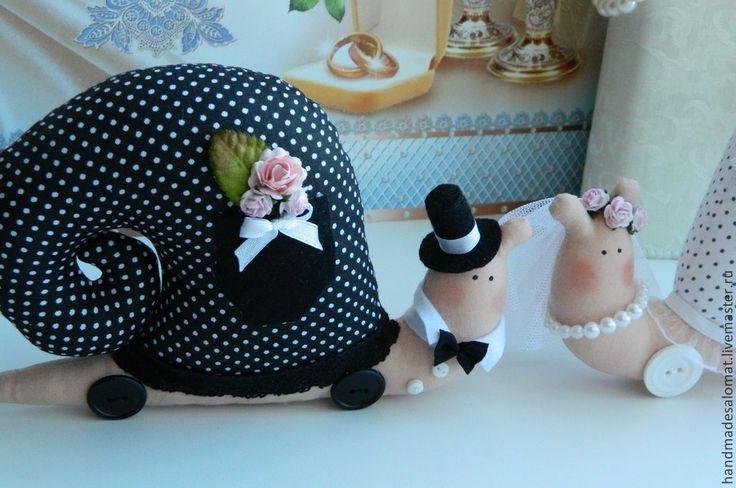 Купить Улитки молодежены - кукла ручной работы, свадьба, жених и невеста, молодожены, подарок на свадьбу
