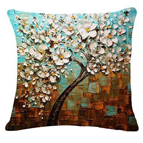 Jinbeile Cotton Linen Throw Pillow Cover Decorative 18 X 18 Inch Oil Painting White Flower Black Tree and Cushion Case Home Pillowcase Jinbeile http://smile.amazon.com/dp/B0188TS8VW/ref=cm_sw_r_pi_dp_9Cj9wb02XR1ZS
