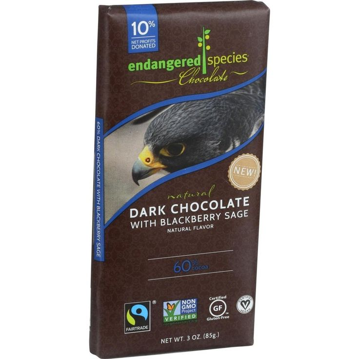 Endangered Species Natural Chocolate Bars - Dark Chocolate - 60 Percent Cocoa - Blackberry Sage - 3 Oz Bars - Case Of 12