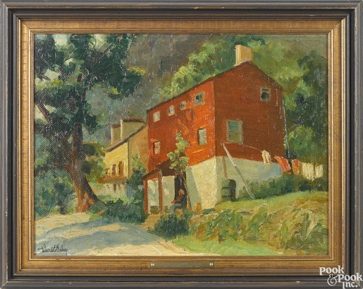 """""""New Hope, Pennsylvania,"""" Richard Evett Bishop, oil on board, 12 x 16"""", private collection."""