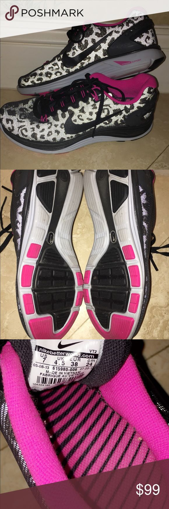 Rare Leopard Print Nikes Rare Reflective Leopard Print Pink Nikes! ONLY worn once for a photo shoot. Style is discontinued. Like new Nike Shoes Sneakers