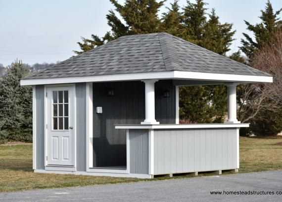 10 X 12 Siesta Pool Bar With Hip Roof And Black Porch Lights On Back Bar Wall In 2020 Pool House Shed Pool House Pool Shed