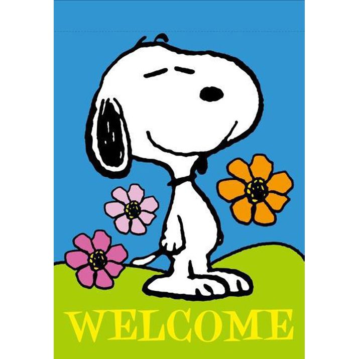Snoopy Spring Summer Welcome Flag 18 95 Snoopy Wants You To Welcome Spring With This Silk Screen House Flag Snoopy Snoopy Quotes Charlie Brown And Snoopy