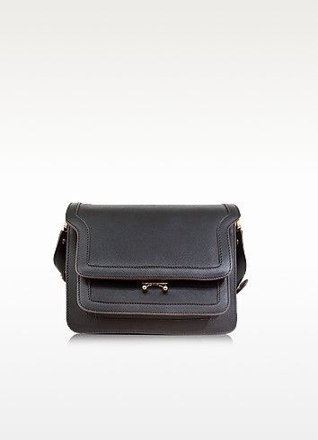 €1490.00   Black Saffiano Leather Trunk Bag crafted in beautiful saffiano leather with contrast piping detail, is the must-have of the season with the iconic bellows construction and quintessential minimalist aesthetic of Marni. Featuring gusseted sides that fan out creating five compartments, including two zipped sections, a front pocket and a lockable front flap closure. Gold tone hardware detail. Special feature is the three way adjustable strap with metal studs with extension strip that…