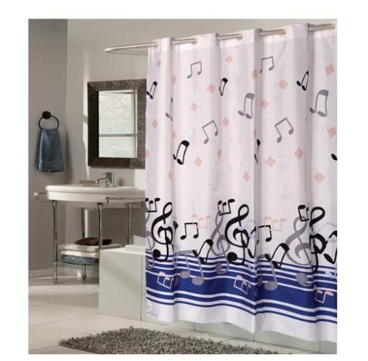 """Цветы полиэстер музыка море ткани игрушка-moden хороший заказ занавески для душа ванной экологичный синий 60 """" x 72 """" whiteFree доставка(China (Mainland))"""