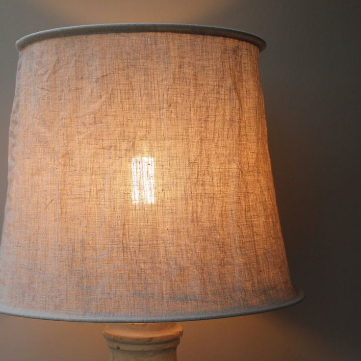 Natural Stone-Washed, Crinkled Linen Lampshades - Four Sizes - Watt