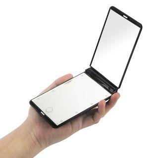 AlierKin Specchio cosmetico pieghevole. Con 8 LEDs, ingrandimento 1x/2x, compatto e portatile