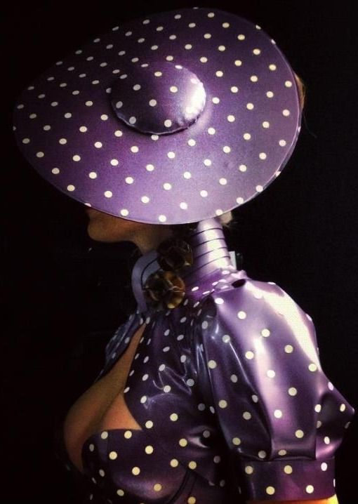 purple polka dots and latex