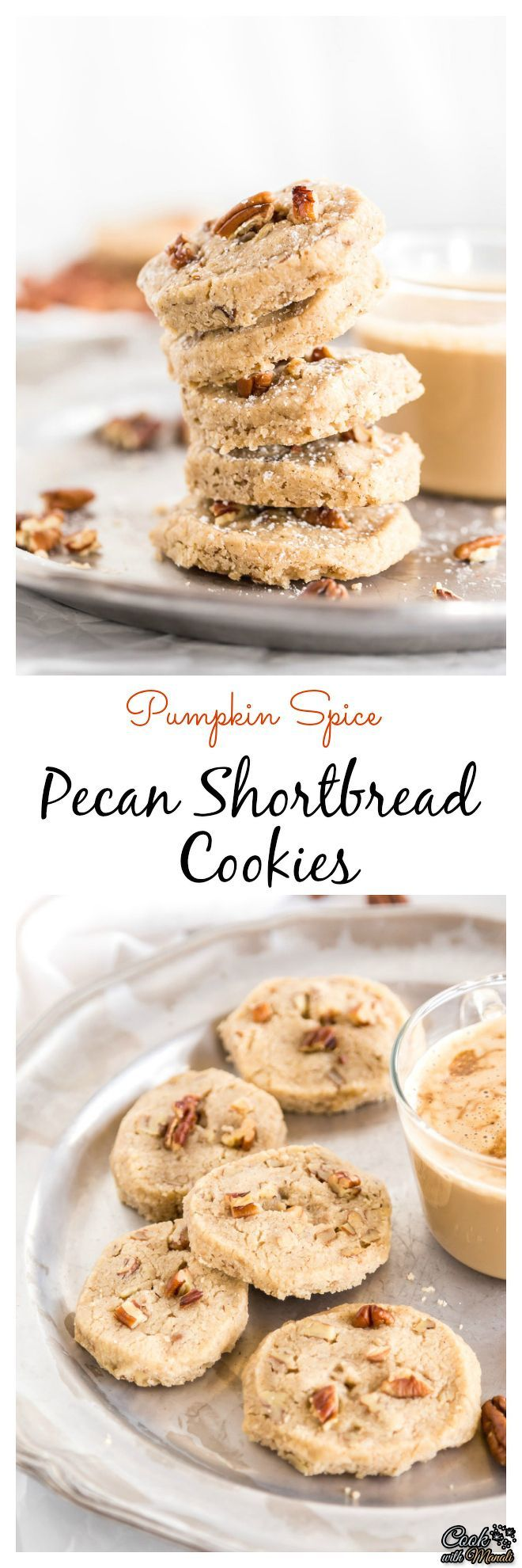 Buttery and perfect for fall, these Pumpkin Spice Pecan Shortbread Cookies can be enjoyed as such or with Pumpkin Spice Latte! #fall #cookies #pumpkin