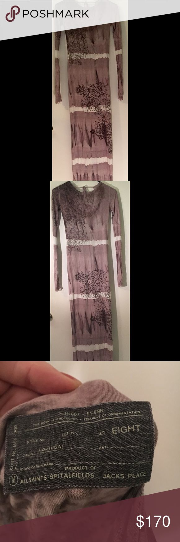 All Saints maxi dress worn twice Beautiful maxi dress by All Saints- size U.K. 8 which is a USA 4. It has some give so could also fit a 6. Full length arms & slightly sheer with eccentric design throughout dress. This cost almost $400 & has been worn no more than several times. All Saints Dresses Maxi