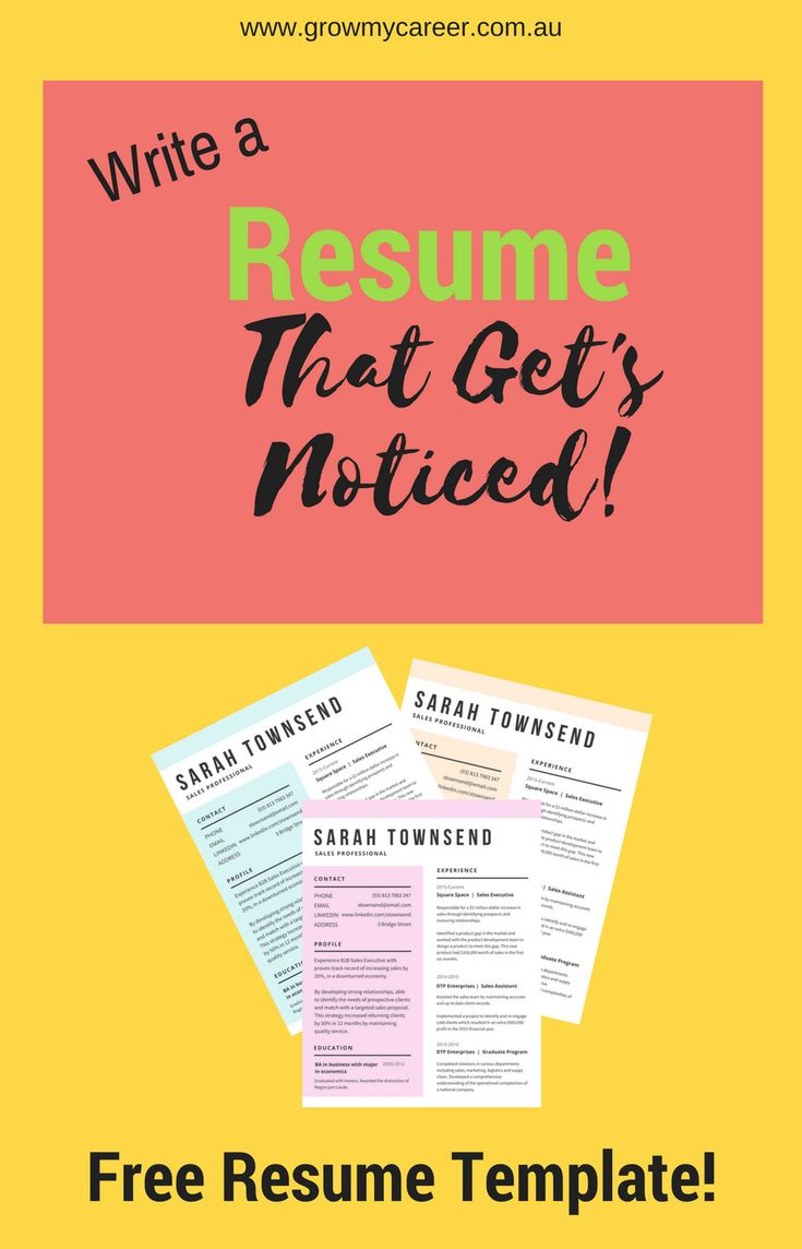 Free Resume Template. Get A Job Interview With This Professional Resume  Template. Write A