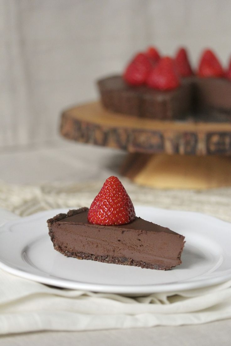 Raw Dark Chocolate Hazelnut Tart with Fresh Strawberries (GF, SF, DF) | Bare Root