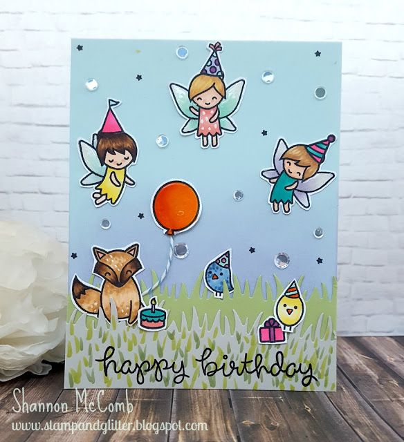 Stamp & Glitter:Happy Birthday scene card featuring Lawn Fawn