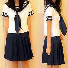 Neuf Japonais Écolière Bleu Marin Sailor Uniforme Robe Cosplay Costumes