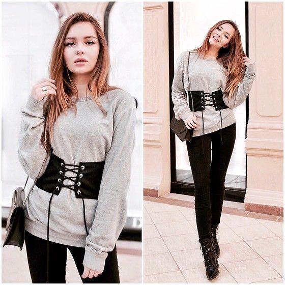Alina Nue - Zara Corset Belt, H&M Sweatshirt, Bershka Skinny Jeans, Asos Biker Boots - Corset Belt
