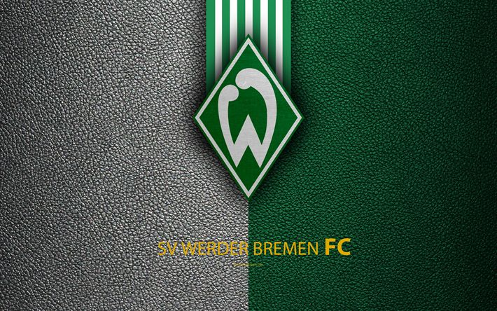 Download wallpapers SV Werder Bremen FC, 4k, German football club, Bundesliga, leather texture, emblem, logo, Bremen, Germany, German Football Championships