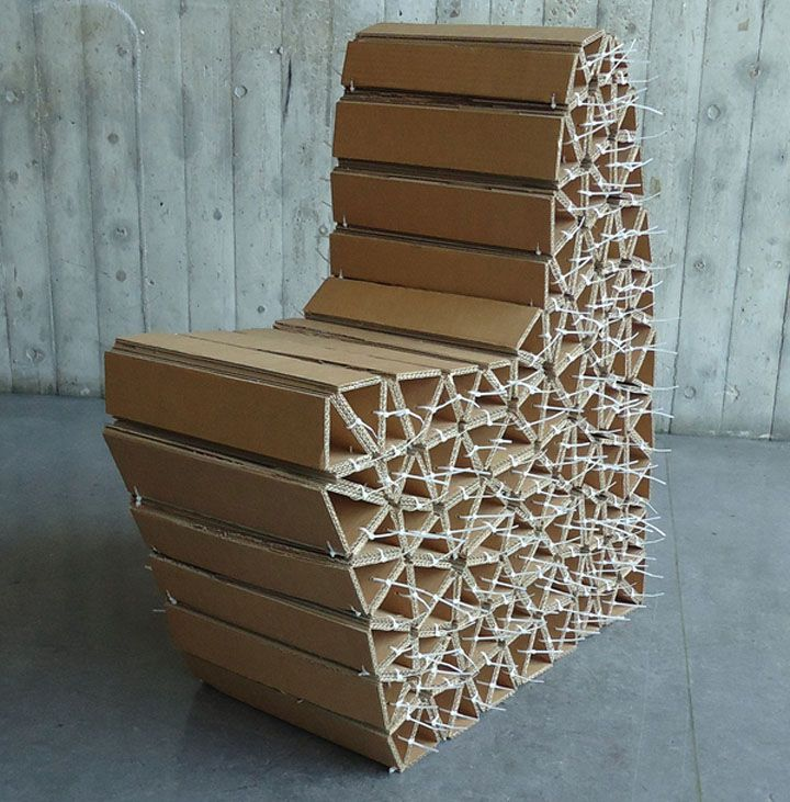 Caterpillar Chair   reused cardboard modular chair by Wiktoria Szawiel furniture 2 eco