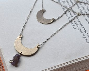 Double alpaca silver necklace with moon pendants