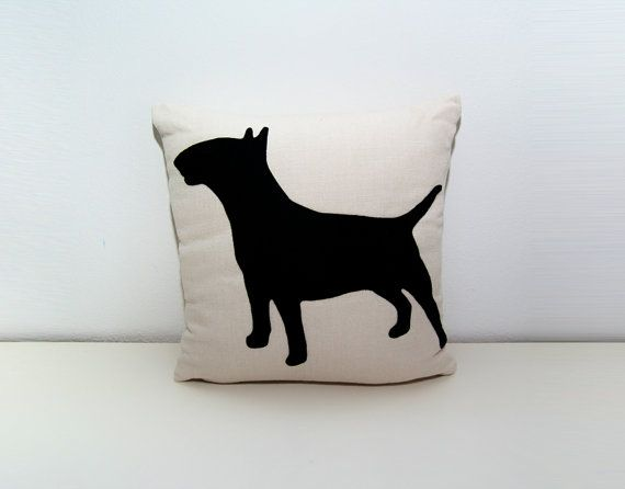 Bull Terrier cushion cover  light beige and by ItsTimeToDream, €30.00