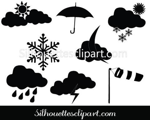 Weather Silhouette Vector Icons