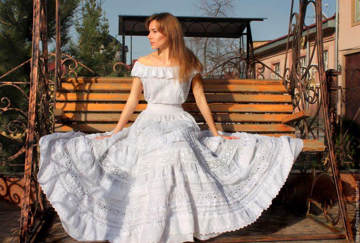 """Купить Шикарное платье """"White boho"""" в интернет магазине на Ярмарке Мастеров"""