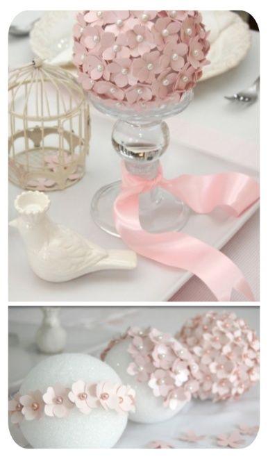 The Semi-DIY Wedding: Different DIY Pomander Tutorials! vintage pink flower ball centerpiece with pearls petals ribbon bridal party shower wedding antique