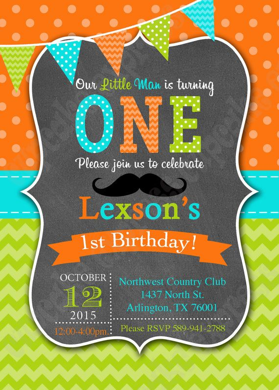 Little Man One First Birthday BOY orange lime by CupcakeExpress
