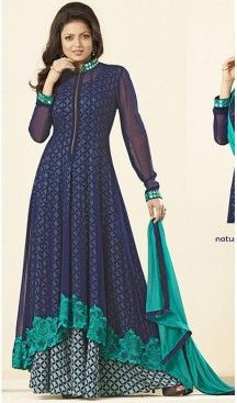 Navy Blue Color Georgette Party Wear Gowns Online Shopping | FH425567803 #Pakistani #Collection #SalwarKameez #EID #Special #2016 #Suits