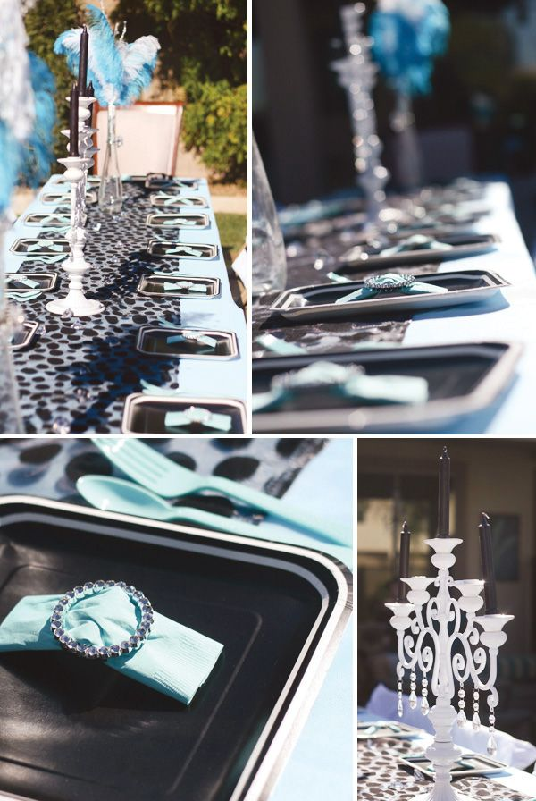 For this Breakfast at Tiffany's Themed Birthday Party, @Jennifer Sbranti added glam touches with our Candelabras, Sparkle Rings, Sparkle Tea Light Holders.: Birthday, Breakfast At Tiffany'S, Tiffany Blue, Table Setting, Shower, Party Ideas, Tiffany Party