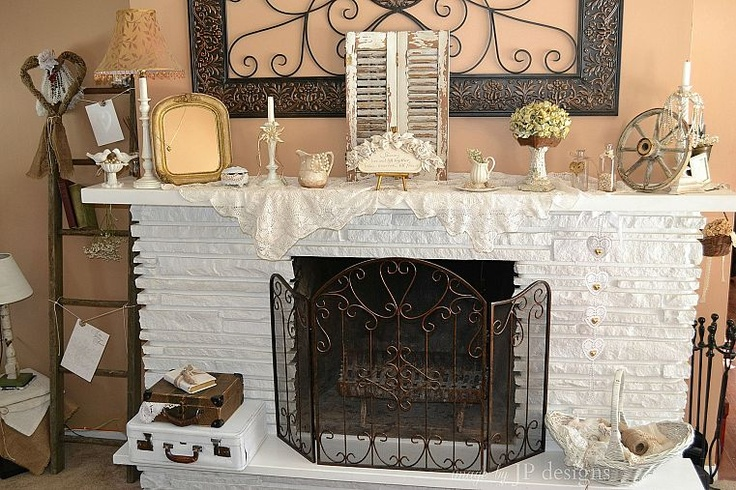 White Fireplace & Mantel Decor