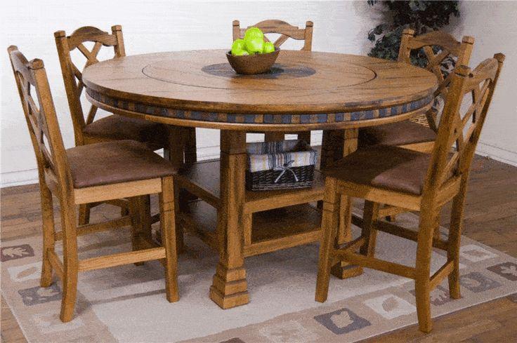 Arizona Rustic Oak Round Pub Table Set W/ 8 Bar Stools