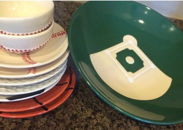 A personal favorite from my Etsy shop https://www.etsy.com/listing/289547101/pottey-barn-game-plan-serving-dish