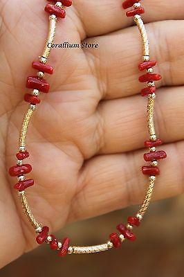 Collar Estilo Vintage Con Auténtico Natural Coral rojo y plata esterlina.