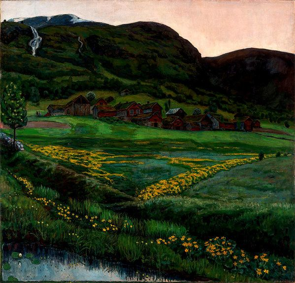 Nikolai Astrup Art Print featuring the painting A Clear Night In June by Nikolai Astrup