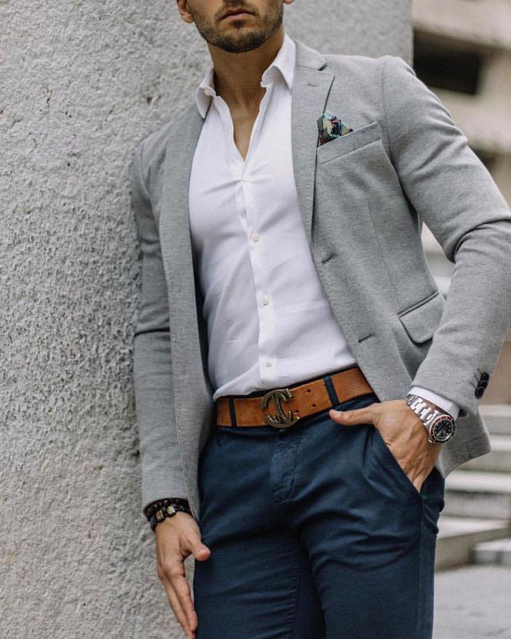 379b3eead7 Great looking men's Business Casual Look complete with grey blazer  #virileman5