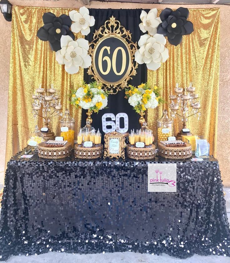 Pinktulipcreations Birthday Dessert Table Decorated In Black And Gold Dessert Table Birthday Birthday Party Desserts 60th Birthday Party Decorations