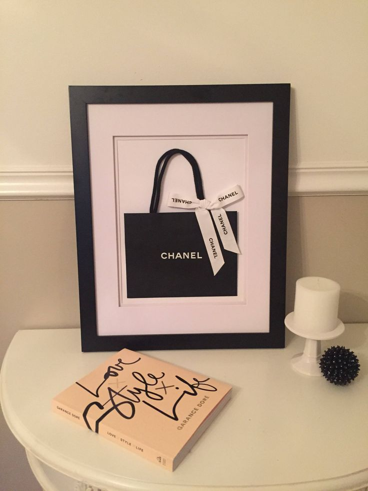 Medium Framed CHANEL- Authentic Chanel Shopping Bag with ribbon with double White Mat, Black Frame Wall Art or display piece by BeadedbyLynda on Etsy