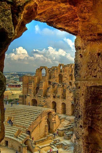 Amphitheatre of El Jem also called Thysdrus Coliseum - Tunis Thysdrus, Tunisia