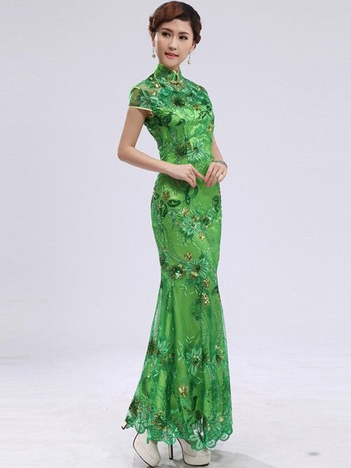 green sequined anklelength mermaid chinese qipao