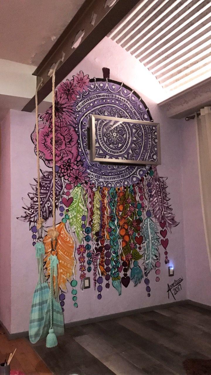 Color art dreamcatcher - Dreamcatcher Painting Mural Drawing Colors Art Room Ideas