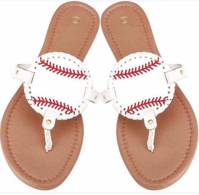 A personal favorite from my Etsy shop https://www.etsy.com/listing/512965125/baseball-softball-mom-sandals-flip-flops