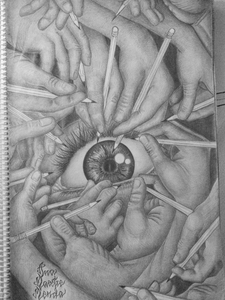 Manos con ojo lápiz