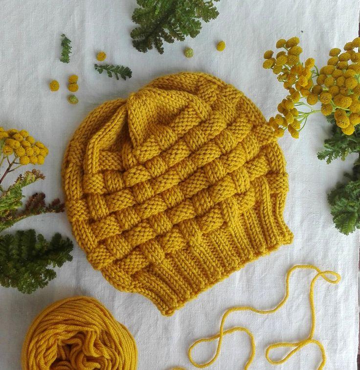 Basket hat, berretto in pura lana merino fatto a mano di KnittingForBreakfast su Etsy