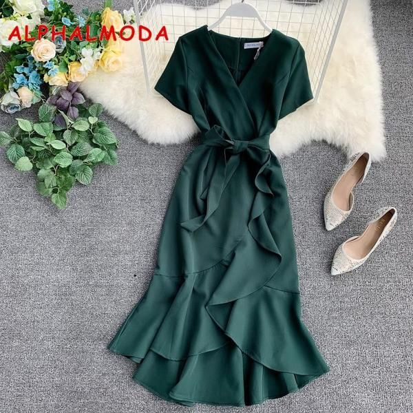 ALPHALMODA 2019 Summer Ladies Ruffled Short-sleeved Wrap Dress V-neck High Waist…