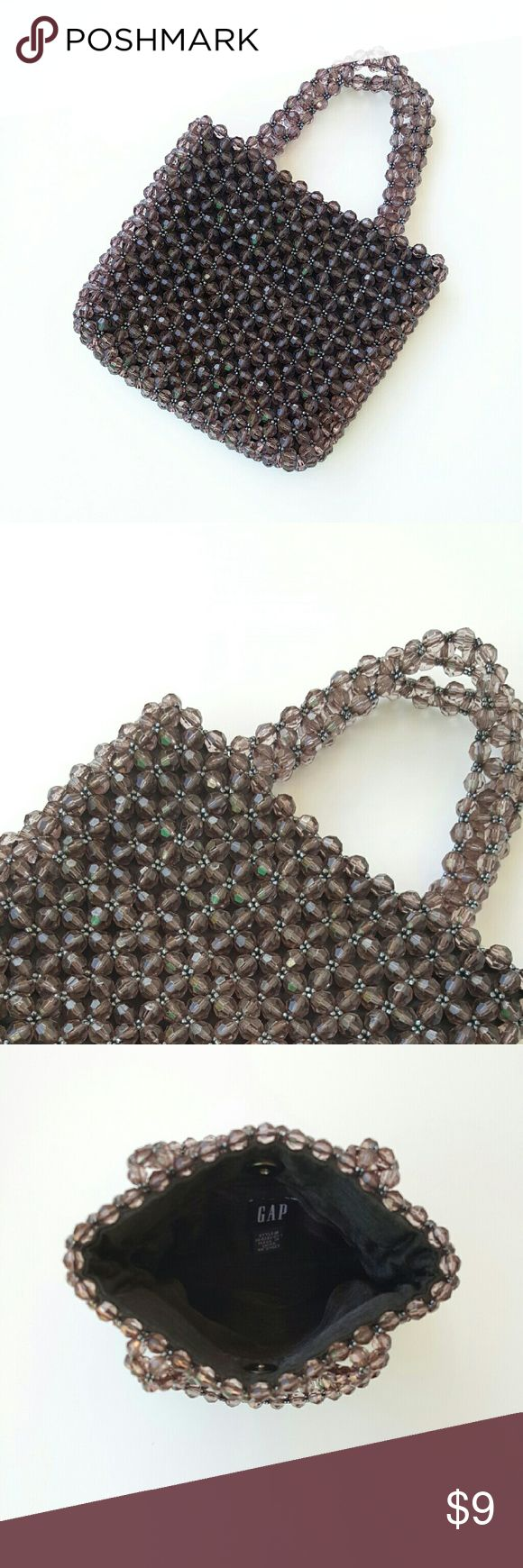 "Girl's Night Out Mini Beaded Bag For any special occasion or a pair of jeans this little mini bag is perfect. This bag has a magnet closure and one interior pocket. Lined. Excellent condition. 7?6"";  3"" drop. Smokey dark gray.hi Gap Bags Mini Bags"
