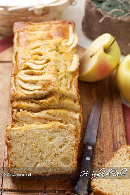 Plumcake alle mele e yogurt, senza burro, senza latte. Ideale per la colazione e merenda, soffice, genuino, buonissimo. Ideale per la merenda dei bambini.